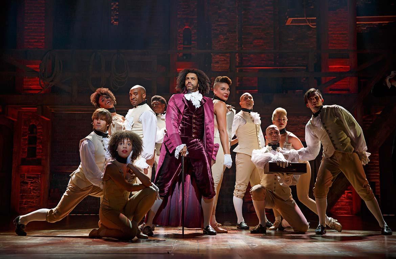 Daveed Diggs as Thomas Jefferson and the ensemble of HAMILTON.