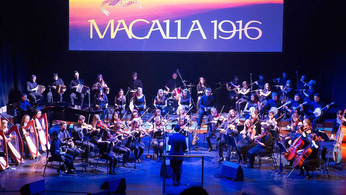 60-plus musicians in the orchestra were performing Macalla 1916.